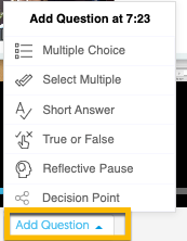 Add Question button reveals multiple choice, multiple select, short answer, true and false