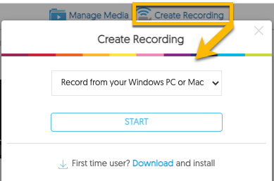 Location in YuJa to select the Create Recording option and trigger a software download