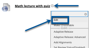 Access the Edit option from Blackboard