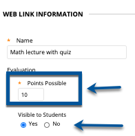 Edit Points Possible for Quiz, title and student visibility
