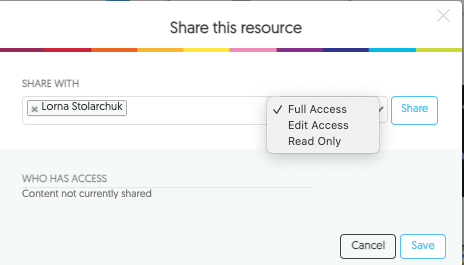 Share resource with specific individual